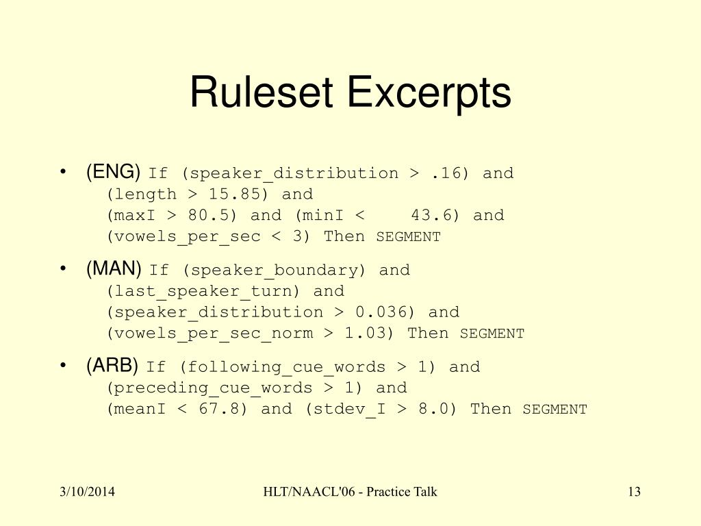 Ruleset Excerpts