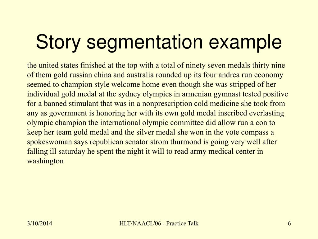Story segmentation example