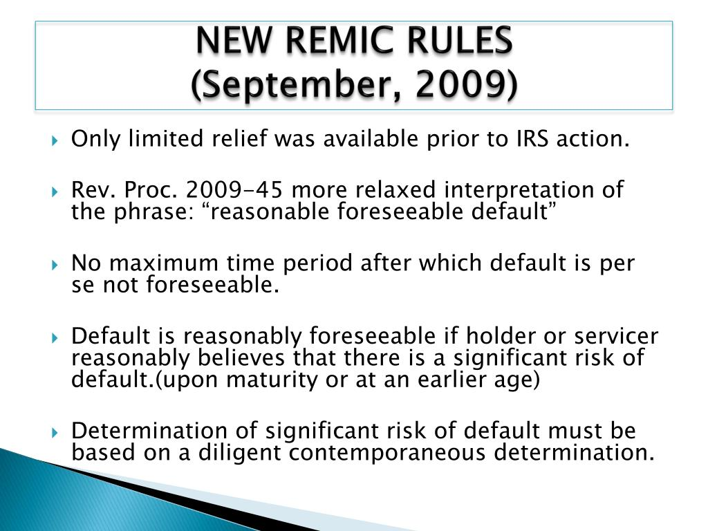 NEW REMIC RULES