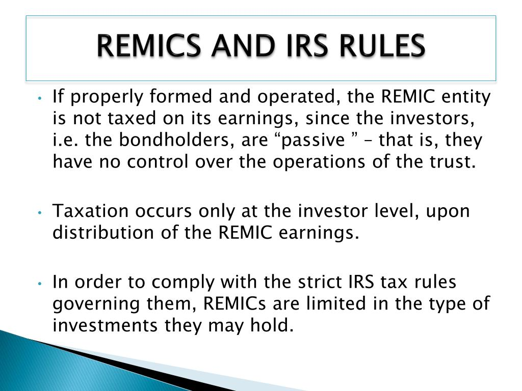REMICS AND IRS RULES