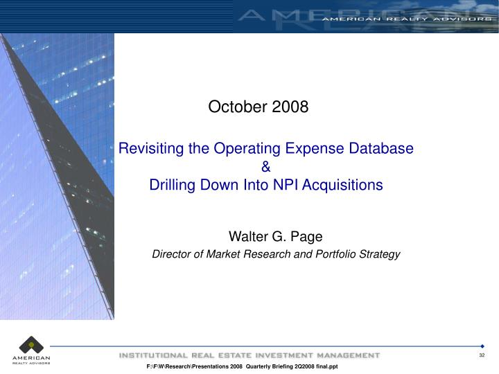 Revisiting the Operating Expense Database