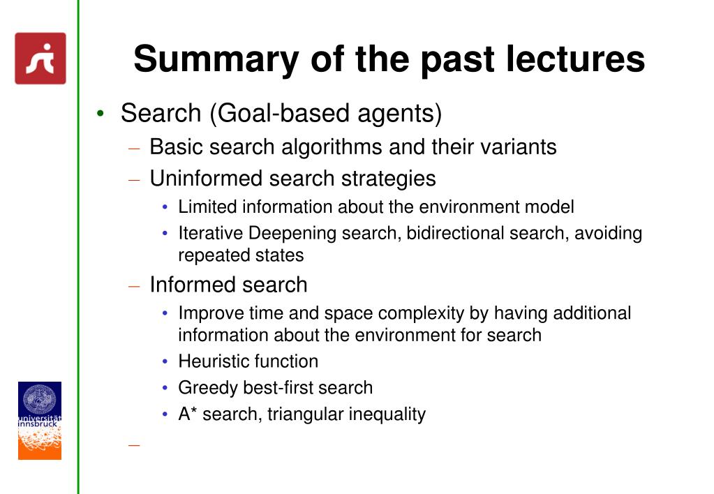 Summary of the past lectures