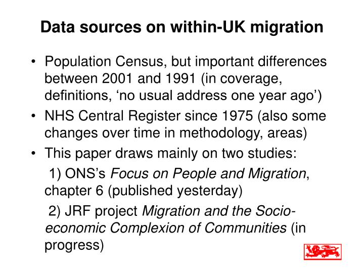 Data sources on within uk migration