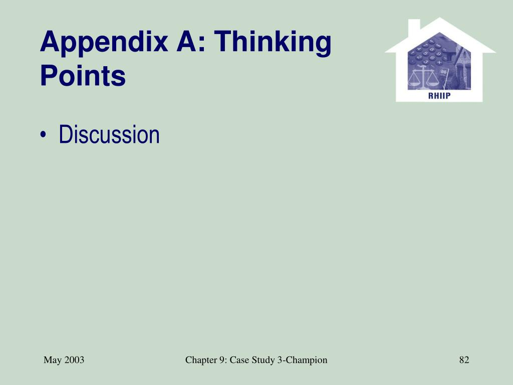 Appendix A: Thinking Points
