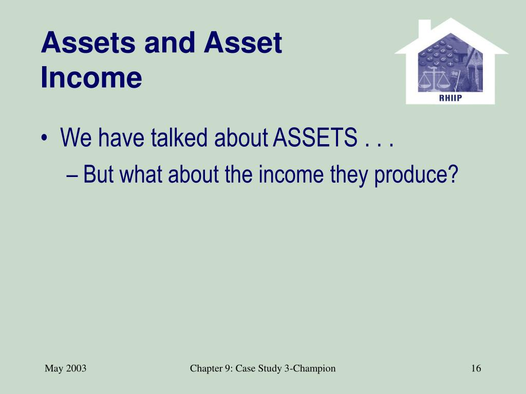 Assets and Asset Income