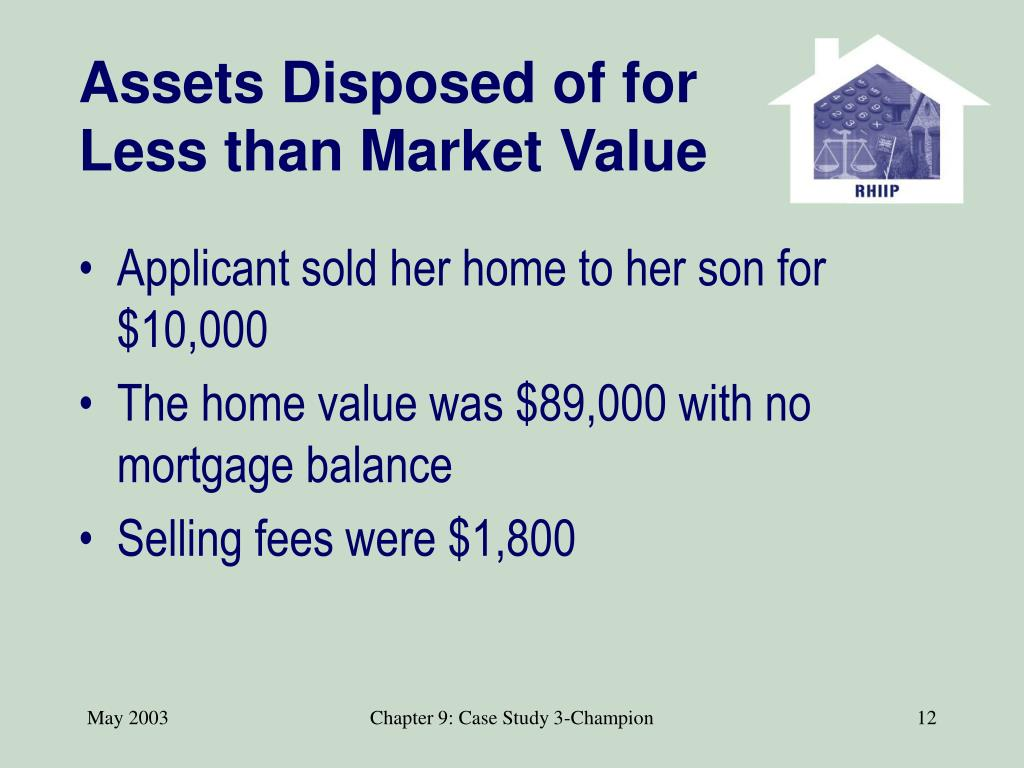 Assets Disposed of for Less than Market Value