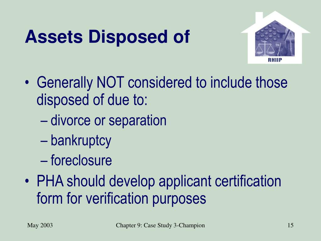 Assets Disposed of