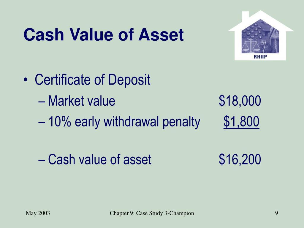 Cash Value of Asset