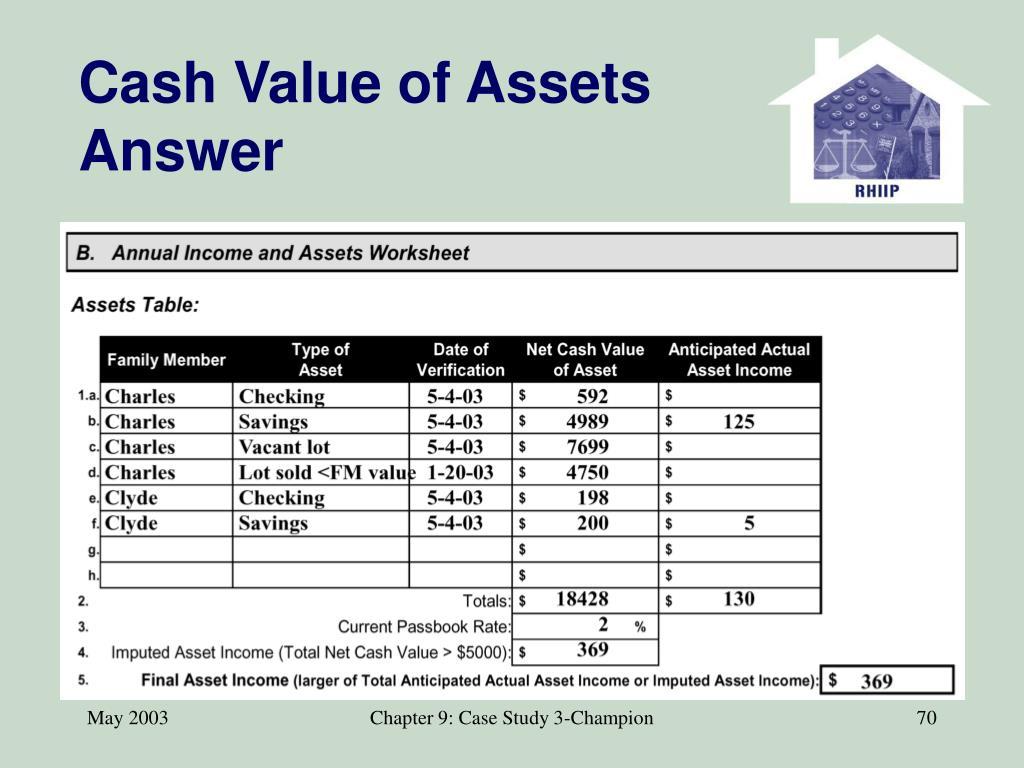 Cash Value of Assets Answer