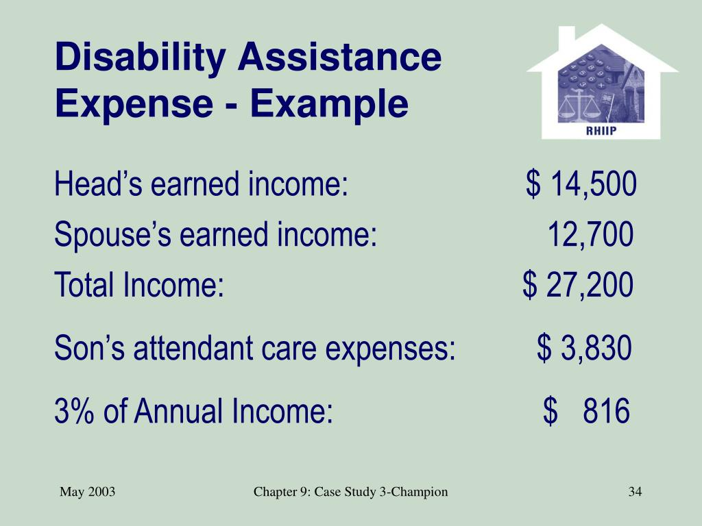 Disability Assistance Expense - Example
