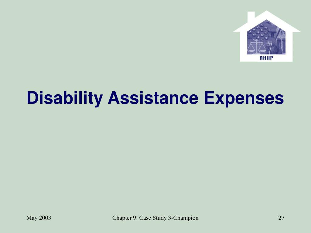 Disability Assistance Expenses