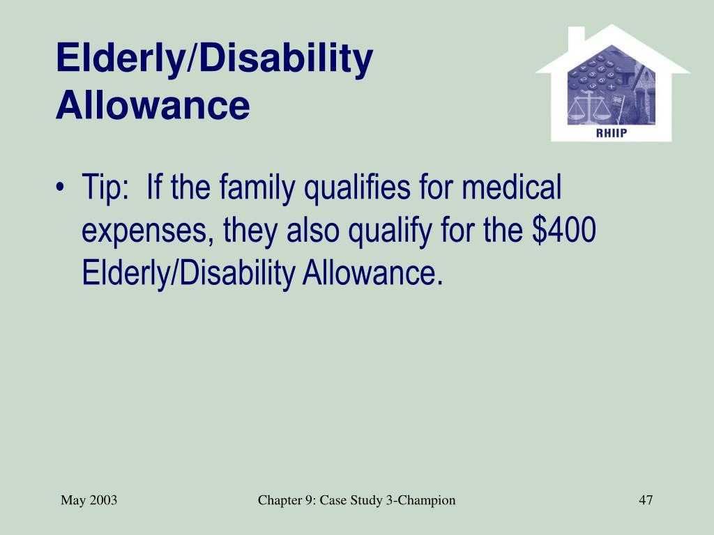 Elderly/Disability Allowance