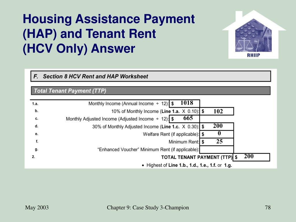 Housing Assistance Payment (HAP) and Tenant Rent