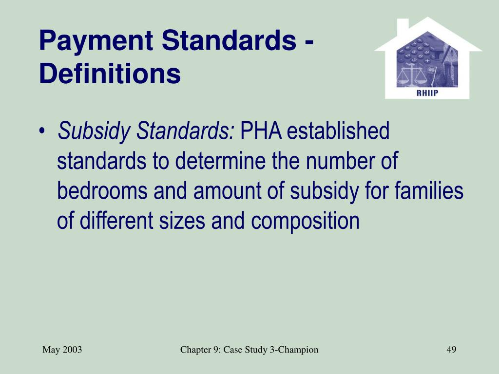 Payment Standards -Definitions
