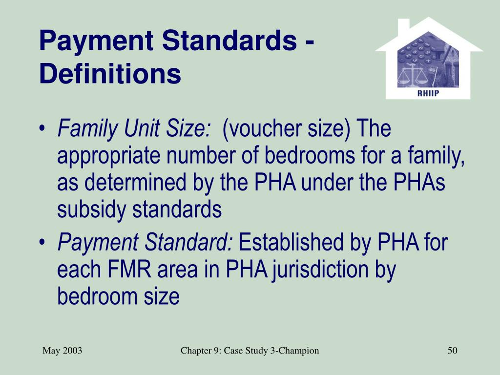Payment Standards - Definitions