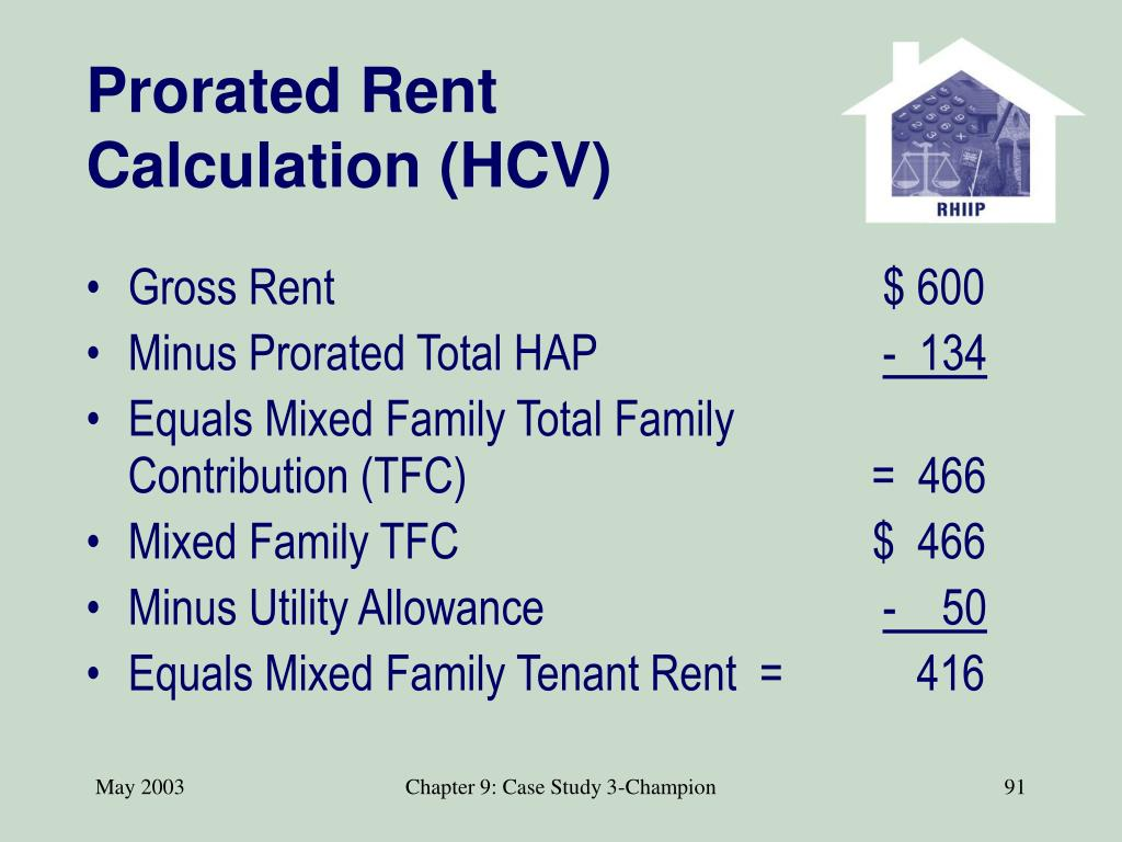 Prorated Rent Calculation (HCV)