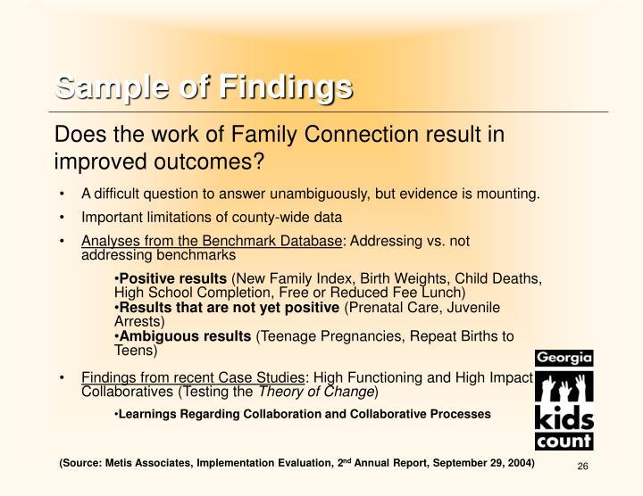 Sample of Findings