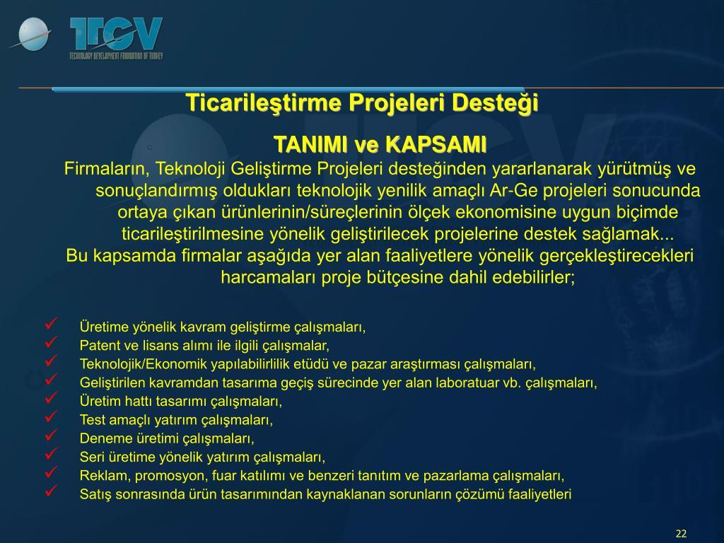 Ticarileştirme Projeleri Desteği
