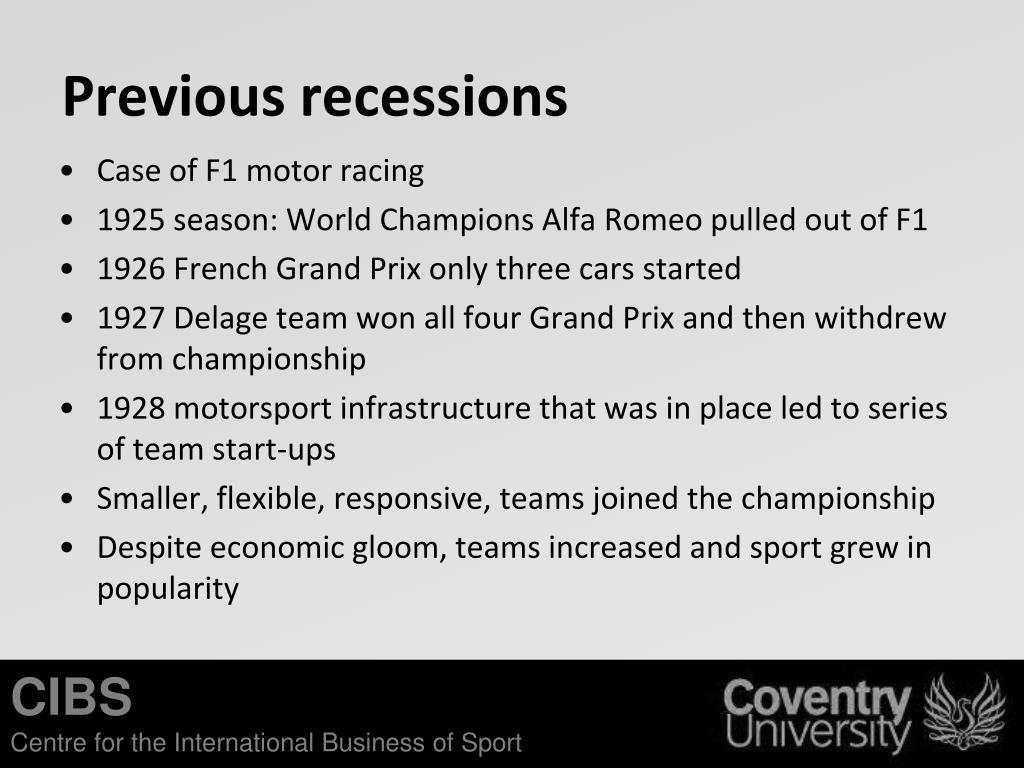 Previous recessions