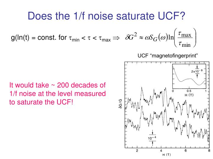 Does the 1/f noise saturate UCF?
