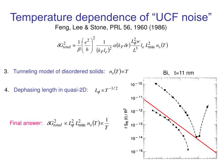 "Temperature dependence of ""UCF noise"""