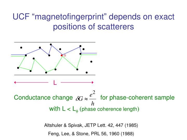 "UCF ""magnetofingerprint"" depends on exact positions of scatterers"