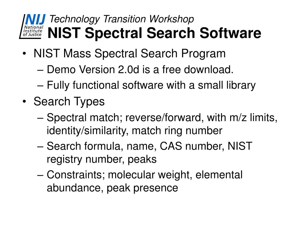 NIST Spectral Search Software