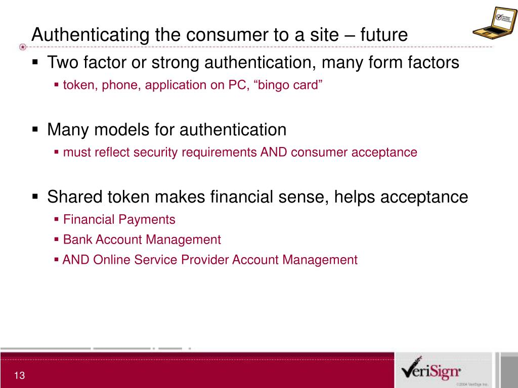 Authenticating the consumer to a site – future
