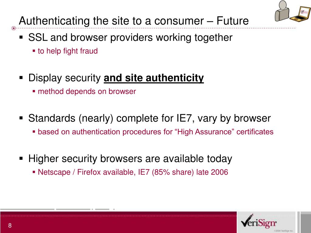 Authenticating the site to a consumer – Future