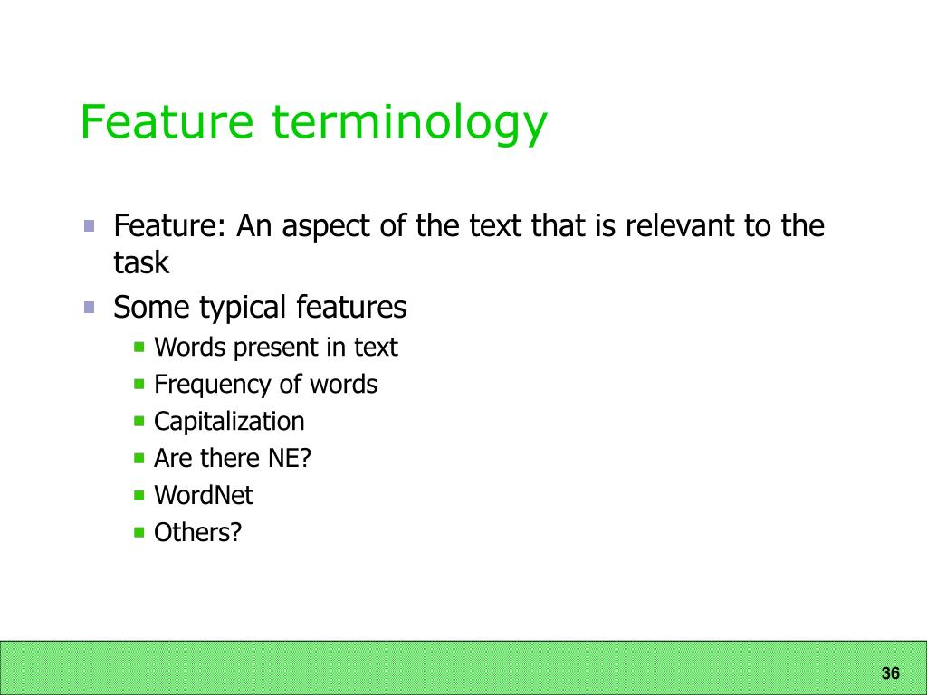 Feature terminology