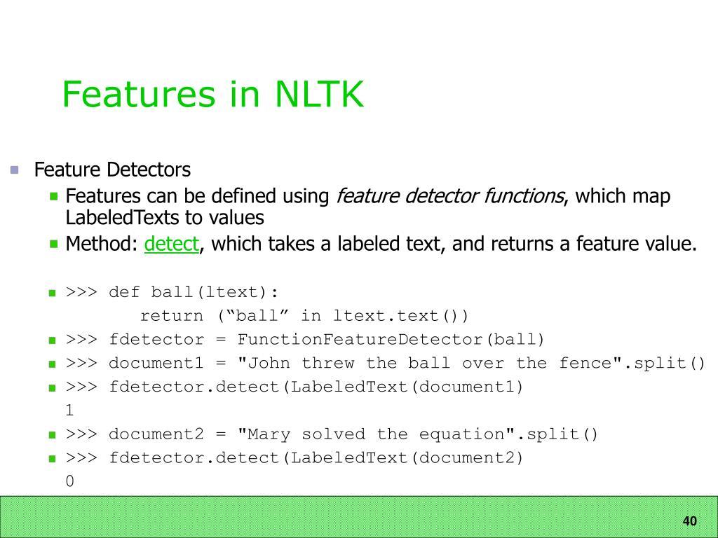 Features in NLTK