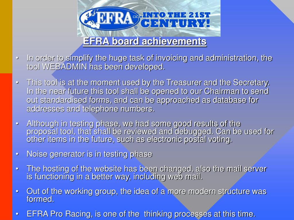 EFRA board achievements