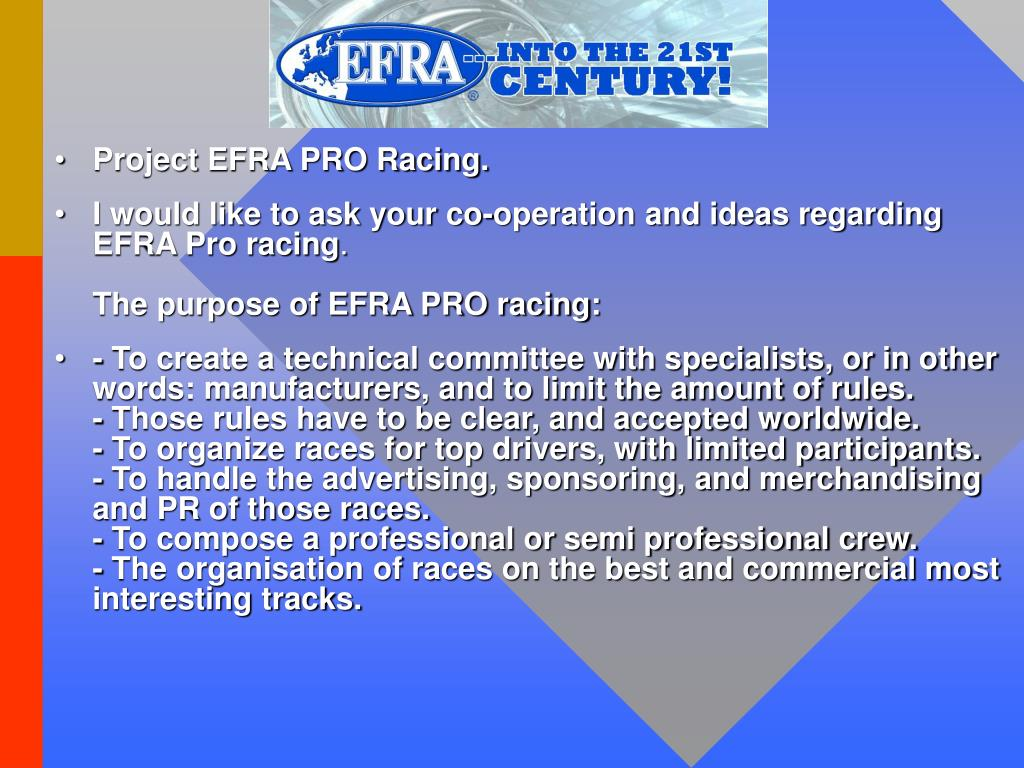 Project EFRA PRO Racing.