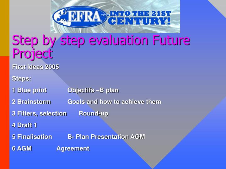 Step by step evaluation future project