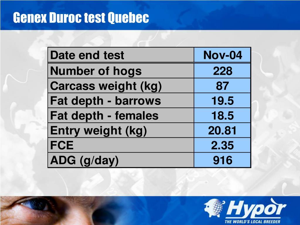 Genex Duroc test Quebec