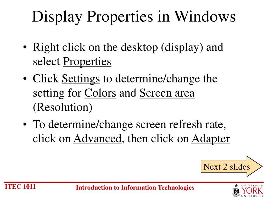 Display Properties in Windows