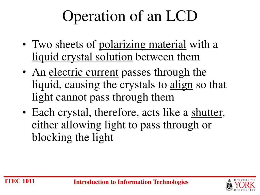 Operation of an LCD