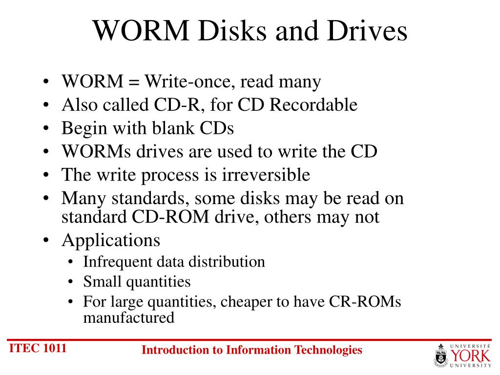 WORM Disks and Drives
