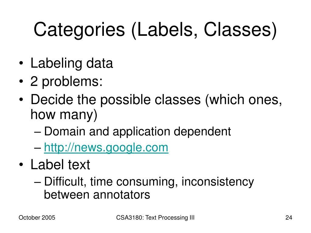 Categories (Labels, Classes)