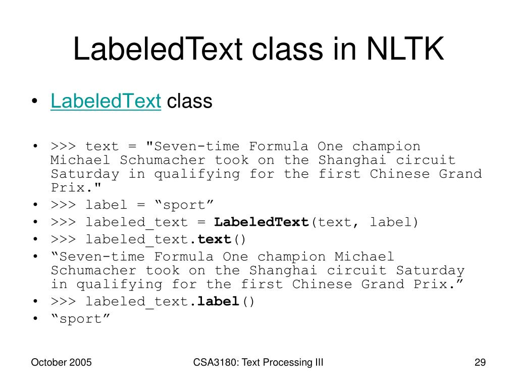LabeledText class in NLTK