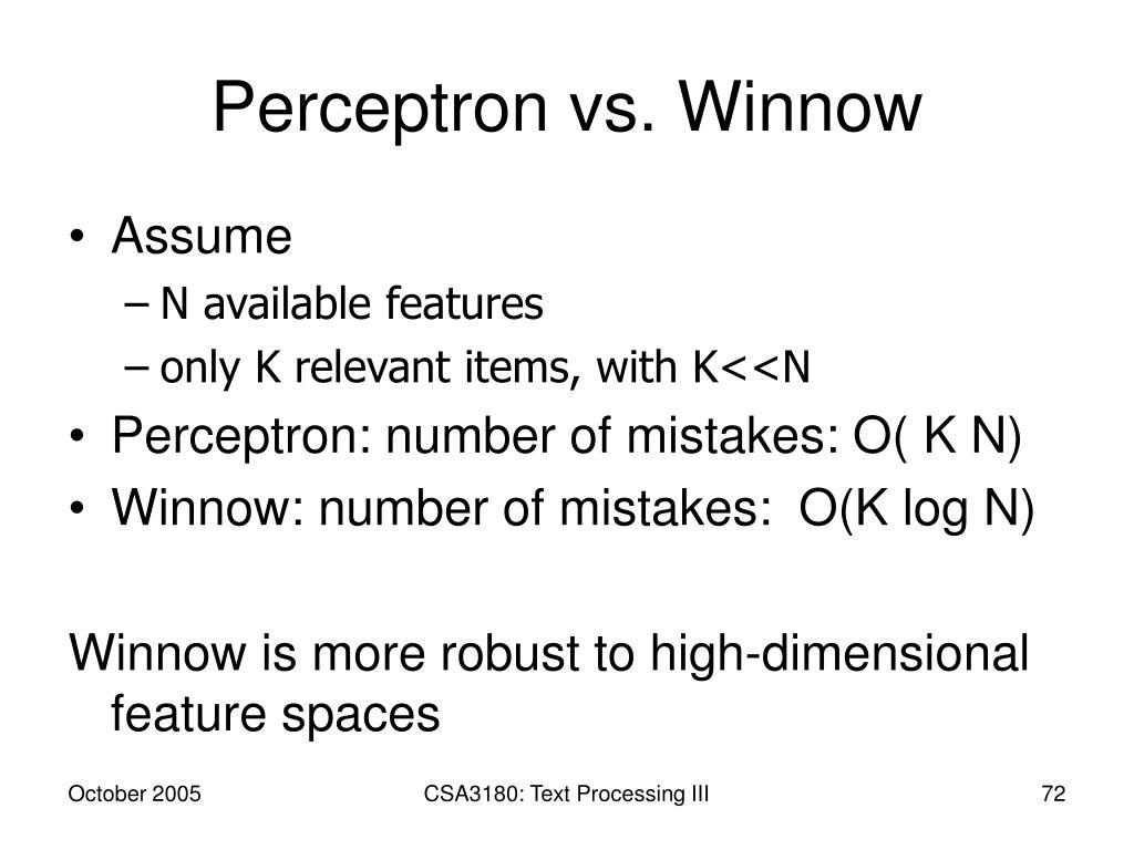 Perceptron vs. Winnow