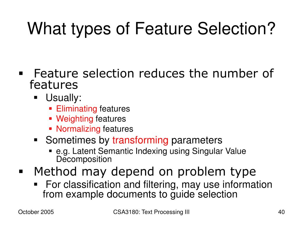 What types of Feature Selection?
