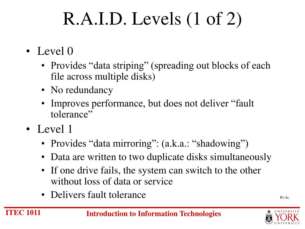 R.A.I.D. Levels (1 of 2)