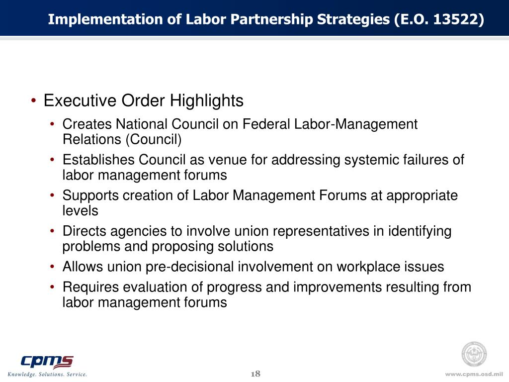 Implementation of Labor Partnership Strategies (E.O. 13522)