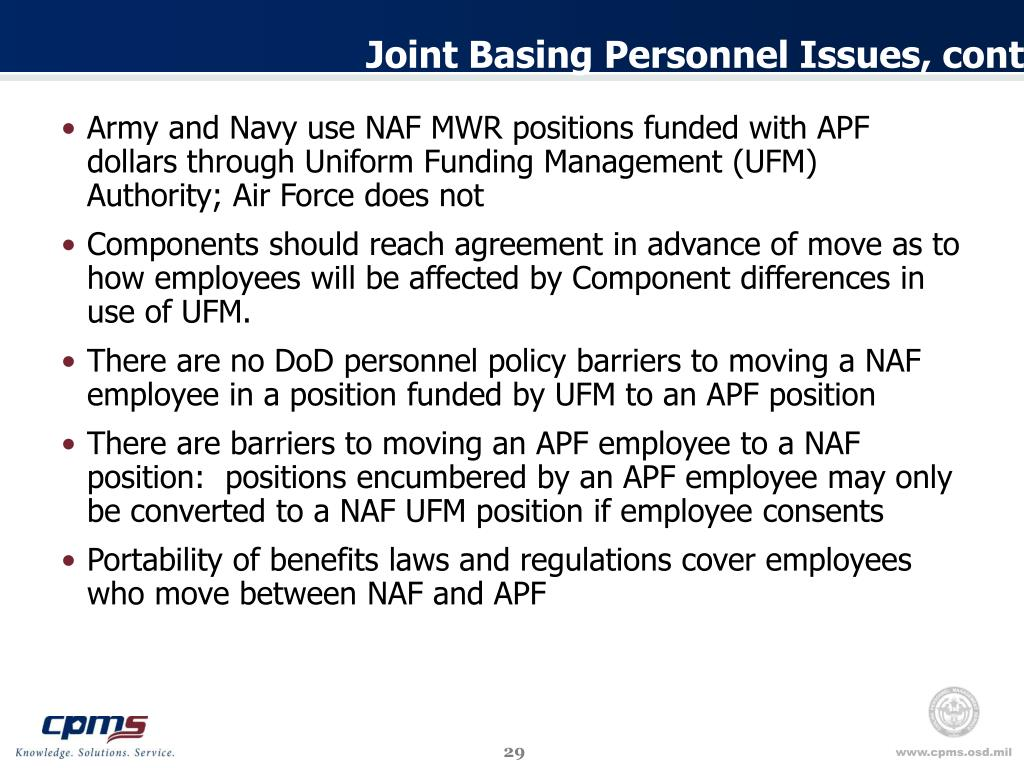 Joint Basing Personnel Issues, cont