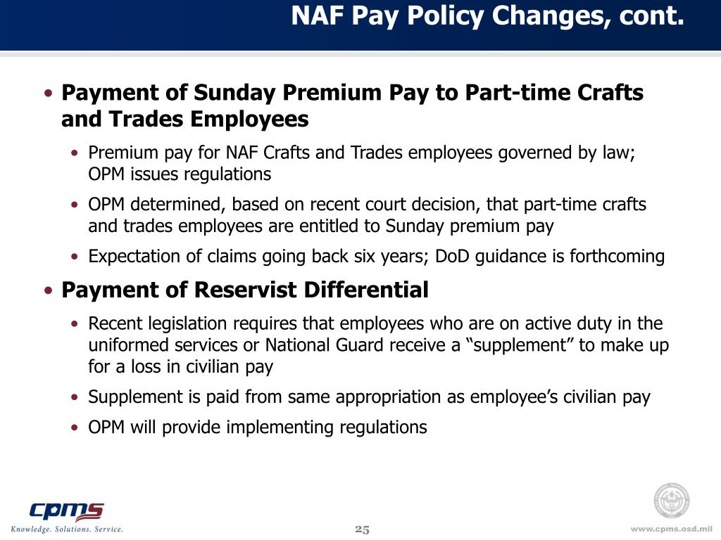 NAF Pay Policy Changes, cont.