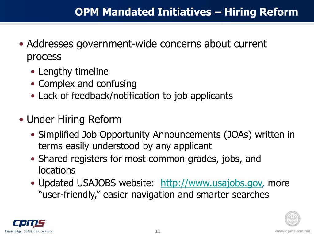 OPM Mandated Initiatives – Hiring Reform