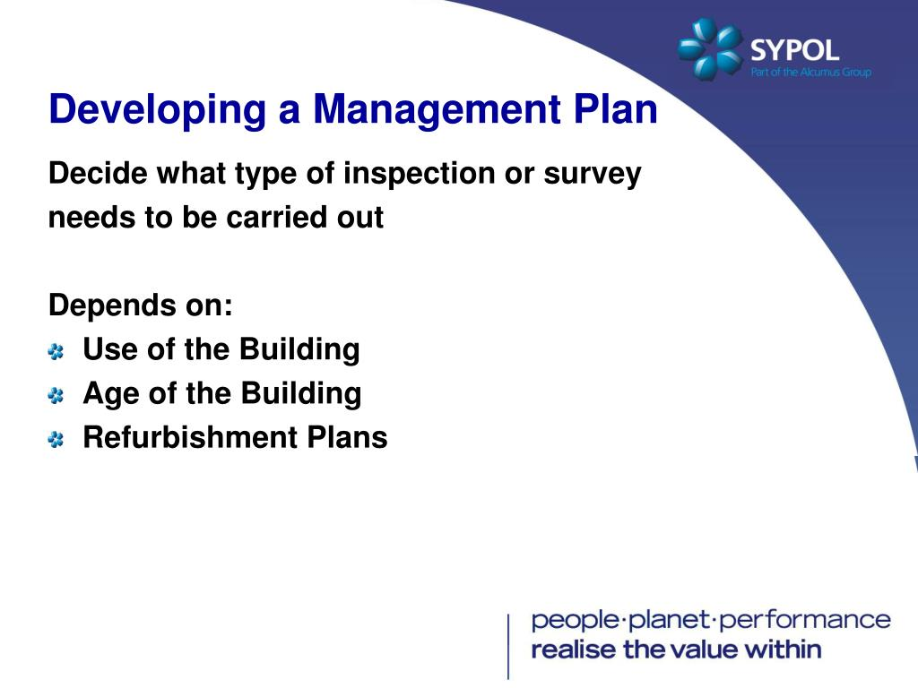 Developing a Management Plan