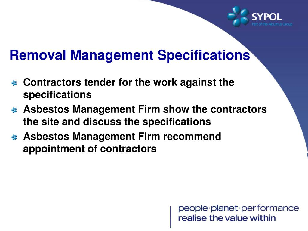 Removal Management Specifications
