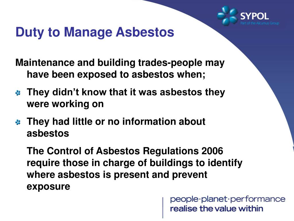 Duty to Manage Asbestos